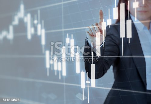 istock Businesswoman touching financial dashboard 511210876