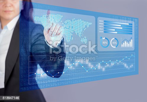 istock Businesswoman touching financial dashboard 513947146