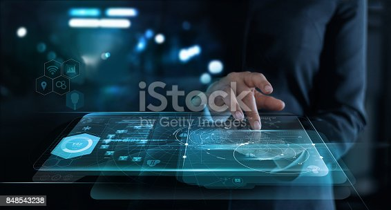 istock Businesswoman touching interface and startup a global network connection on virtual screen ,innovation and communications concept 848543238