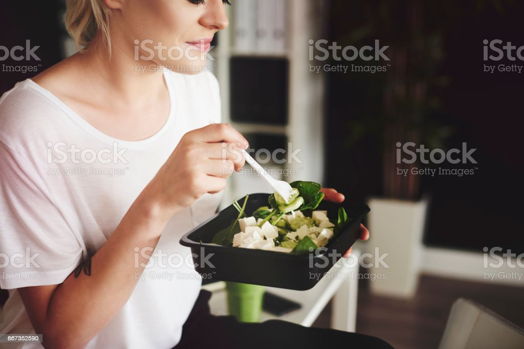 Businesswoman  try to maintain a healthy diet stock photo