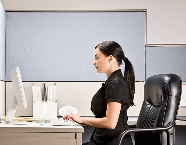 Businesswoman Typing on Computer at Desk stock photo