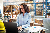 Woman looking busy working on laptop at a distribution warehouse. Businesswoman using laptop to update the stocks at warehouse.
