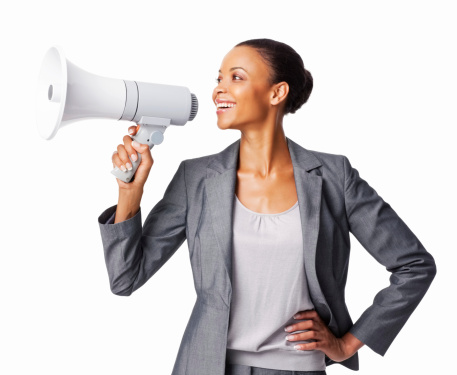 istock Businesswoman Using a Megaphone - Isolated 185289630
