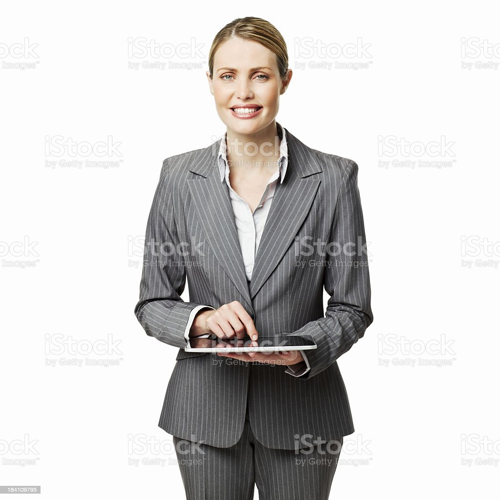 Businesswoman Using a Tablet Computer - Isolated royalty-free stock photo