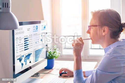 istock Businesswoman using business analytics or intelligence dashboard on computer screen 850852928