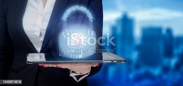 istock Businesswoman using digital padlock with data protection ,3D rendering 1040974918
