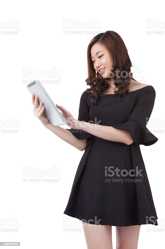 Businesswoman using digital tablet computer PC royalty-free stock photo