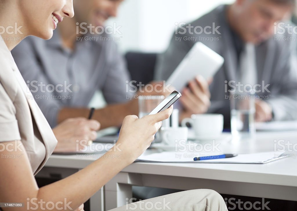 businesswoman using digital tablet royalty-free stock photo