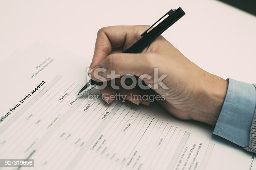 istock Businesswoman viewing application form 927319656