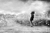 Businesswoman VR cloud computing