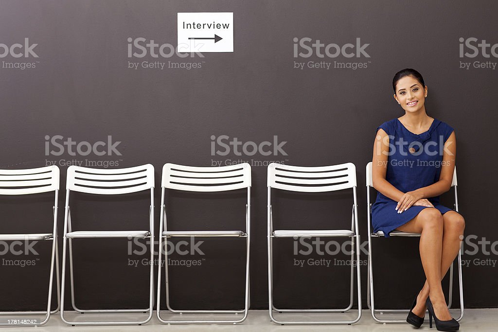 businesswoman waiting for job interview stock photo