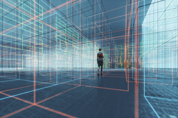 Businesswoman walking in VR environment stock photo