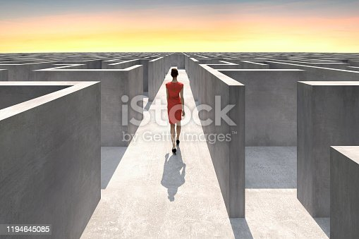 Businesswoman walks inside of a complex maze and looks for the way out, Digitally Generated Image.