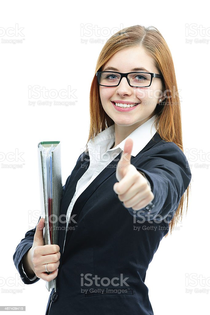 Businesswoman with a folder showing thumbs up stock photo