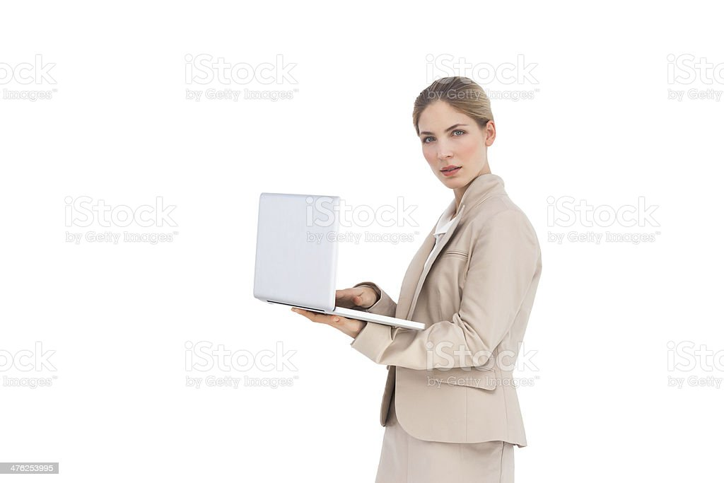 Businesswoman with a laptop royalty-free stock photo