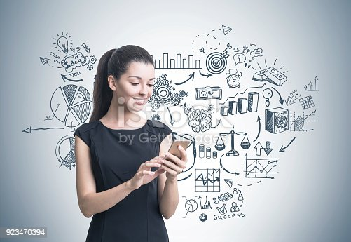 895493084 istock photo Businesswoman with a smartphone, plan 923470394