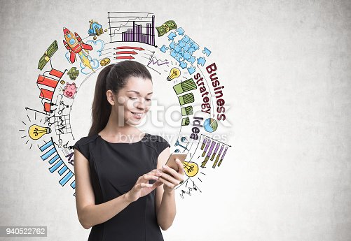 895493084 istock photo Businesswoman with a smartphone, strategy 940522762
