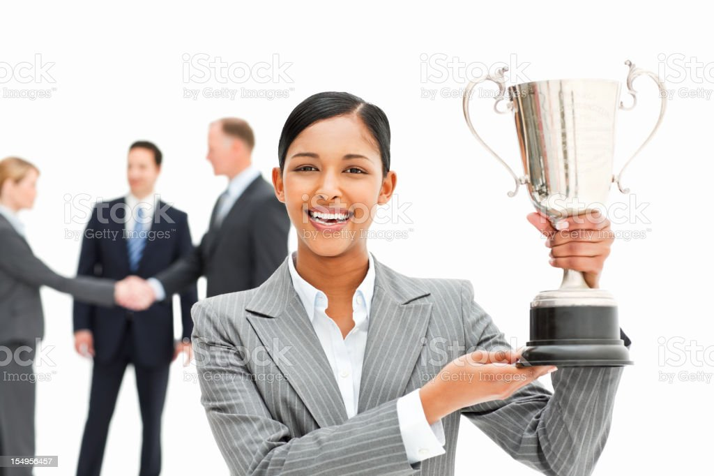 Businesswoman With a Trophy royalty-free stock photo