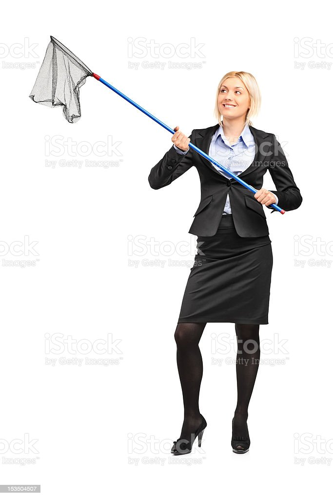 Businesswoman with an empty fishing net stock photo