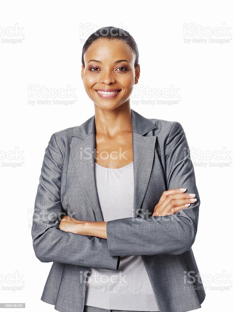 Businesswoman With Arms Crossed - Isolated stock photo