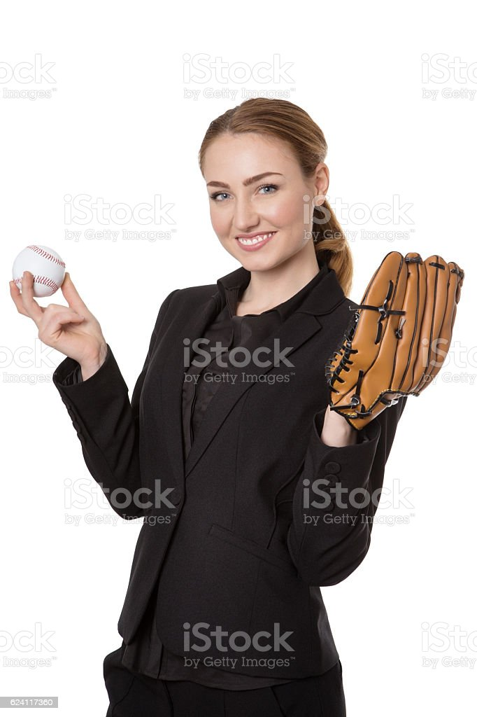 Businesswoman with baseball stock photo