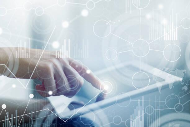 Businesswoman with big data virtual interface – Foto