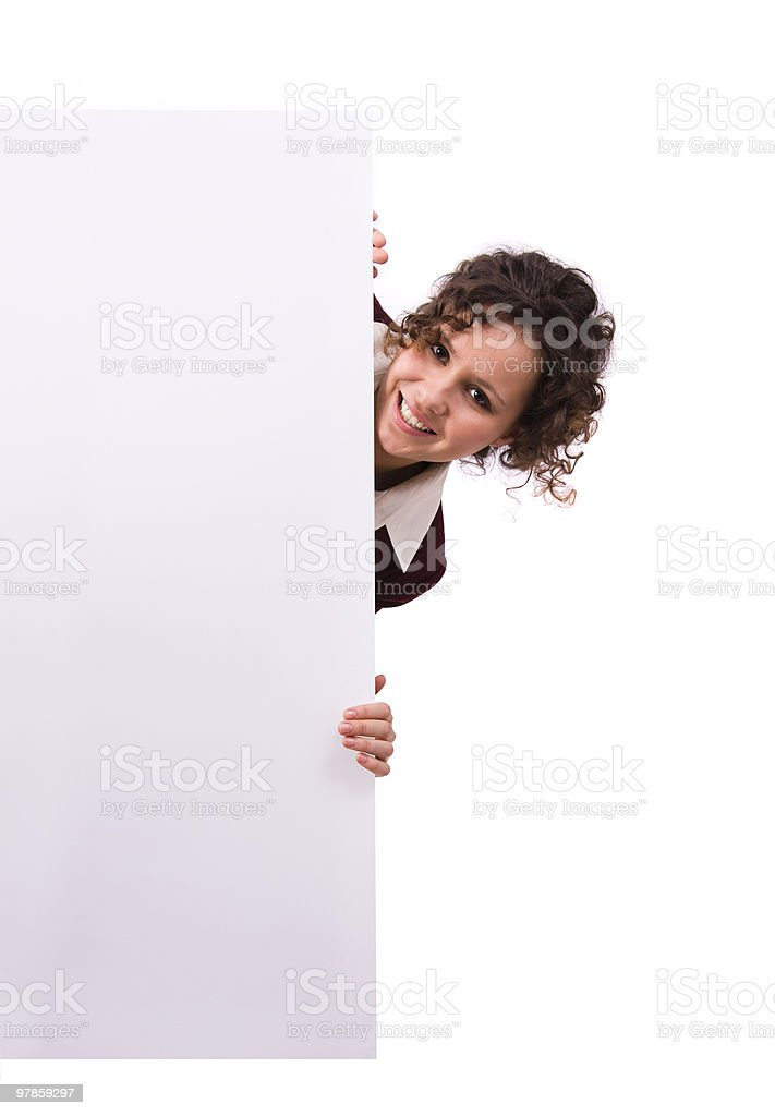 Businesswoman with billboard. royalty-free stock photo