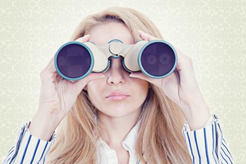 Businesswoman With Binoculars Stock Photo - Download Image Now