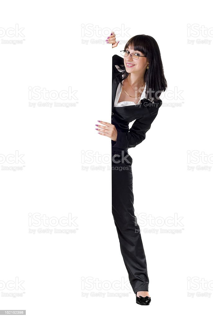 Businesswoman with blank sign royalty-free stock photo