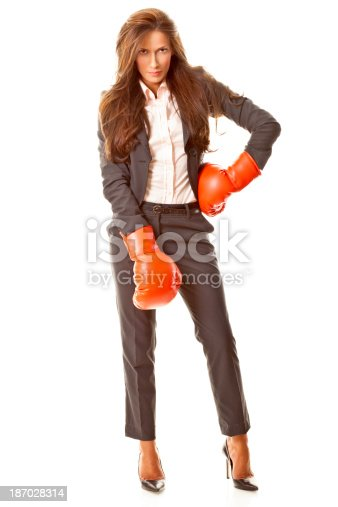 istock Businesswoman with boxing gloves 187028314