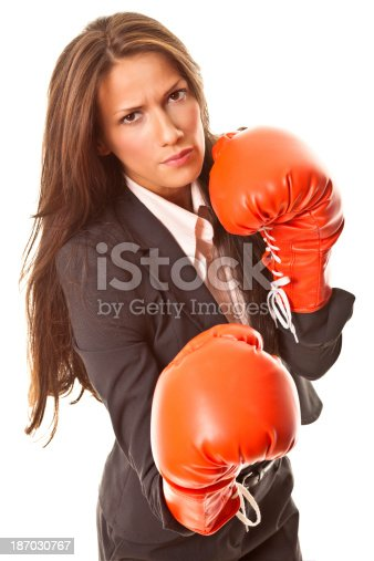 istock Businesswoman with boxing gloves 187030767