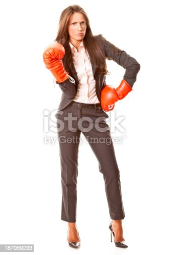 istock Businesswoman with boxing gloves 187059233