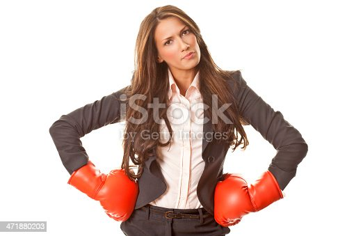 istock Businesswoman with boxing gloves 471880203