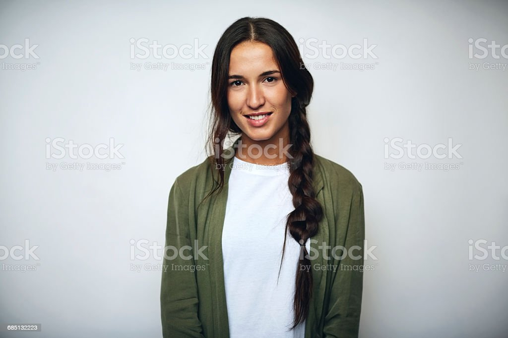 Businesswoman with braided hair over white - foto de acervo