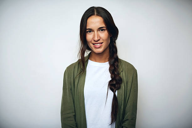 businesswoman with braided hair over white - portrait стоковые фото и изображения