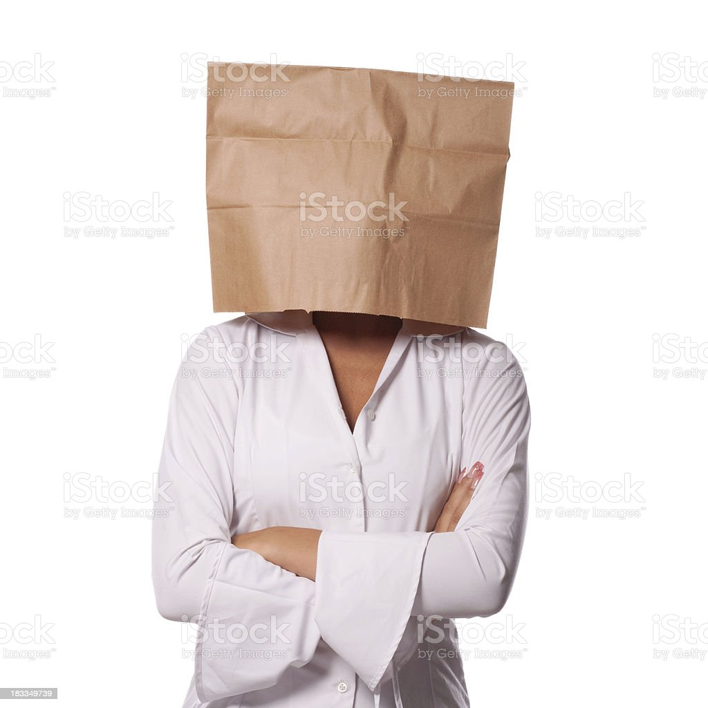 Businesswoman with brown paper bag over her head royalty-free stock photo