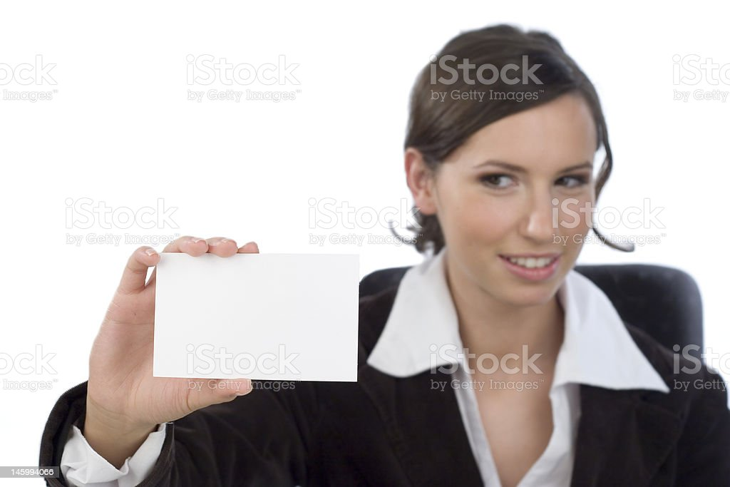 Businesswoman with business card royalty-free stock photo