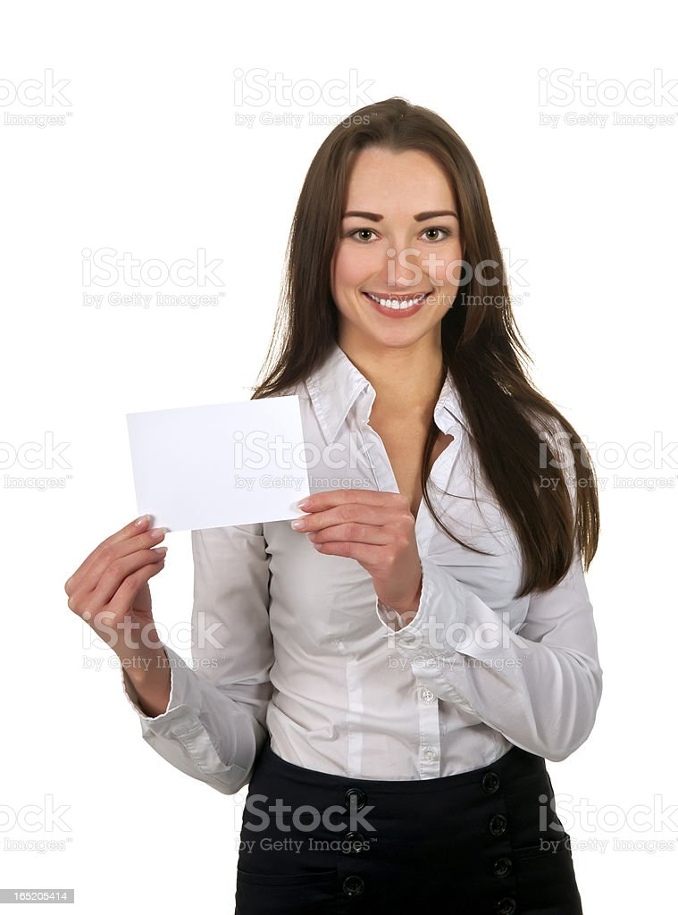 businesswoman with business card stock photo