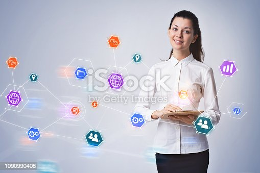 895493084 istock photo Businesswoman with clipboard, iot 1090990408