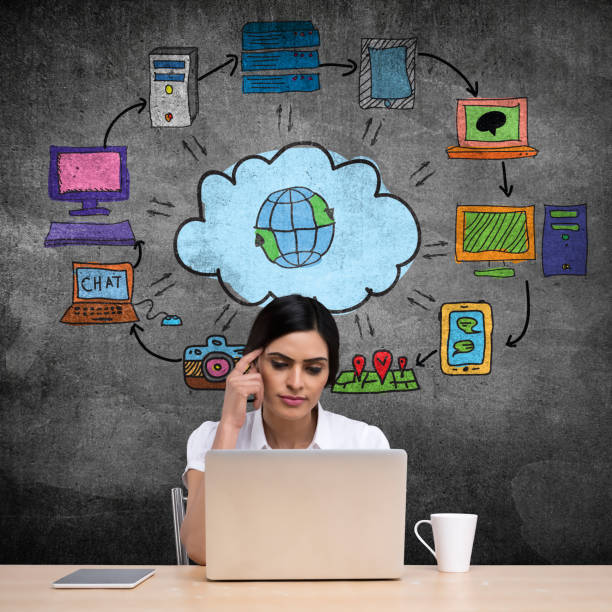 businesswoman with cloud service network - laptop digital composite stock photos and pictures