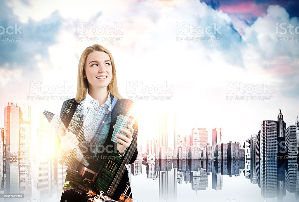 Businesswoman with coffee in a city, skyscraper at the foregroun royalty-free stock photo