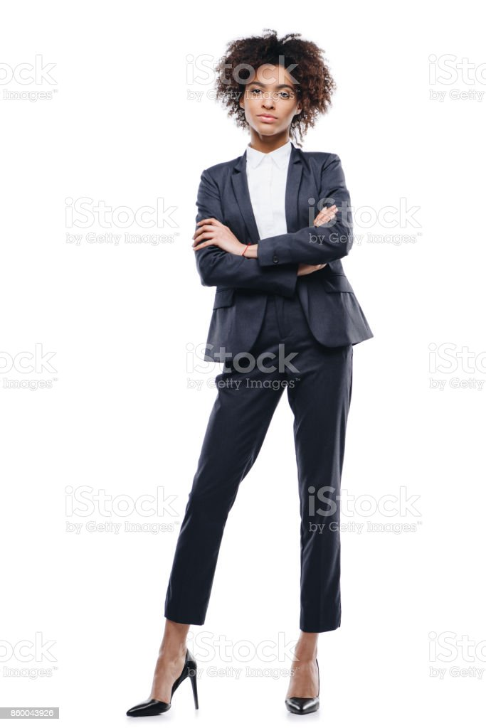 businesswoman with crossed arms stock photo