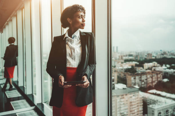 A businesswoman with digital tablet stock photo