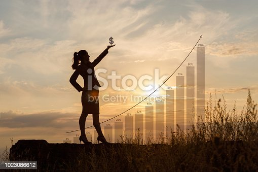 Businesswoman with dollar sign in hand on the background of rising profits.