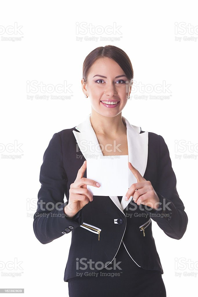 Businesswoman with empty card royalty-free stock photo