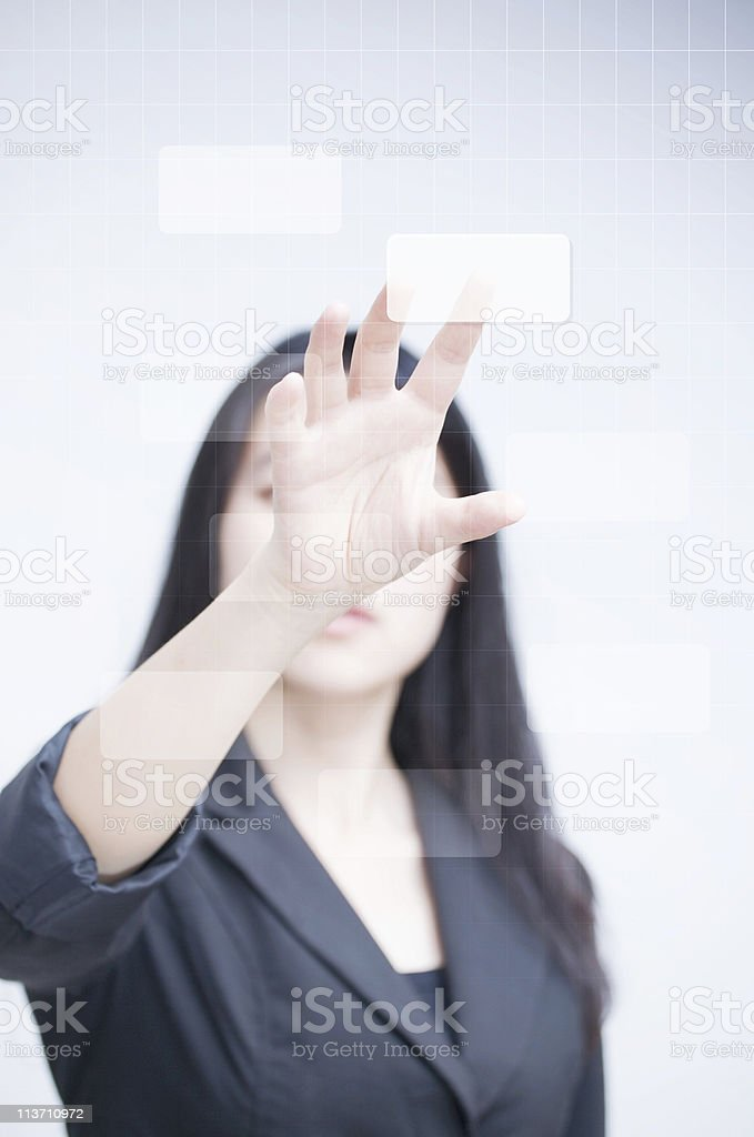 Businesswoman with empty diagram royalty-free stock photo