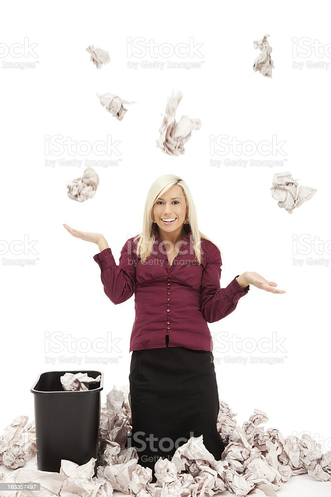 Businesswoman with Falling Paper royalty-free stock photo