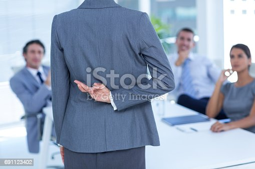 istock Businesswoman with fingers crossed behind her back 691123402