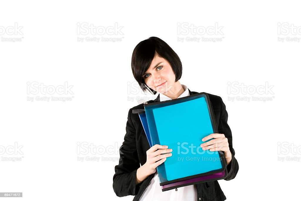 Businesswoman with folder royalty-free stock photo