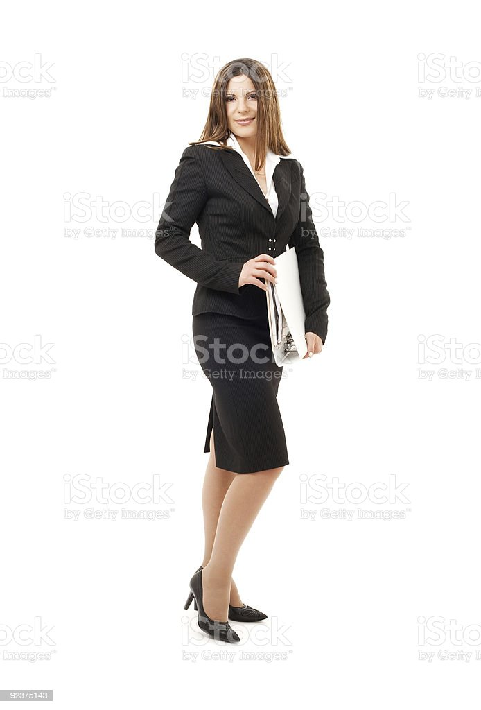 businesswoman with folders royalty-free stock photo